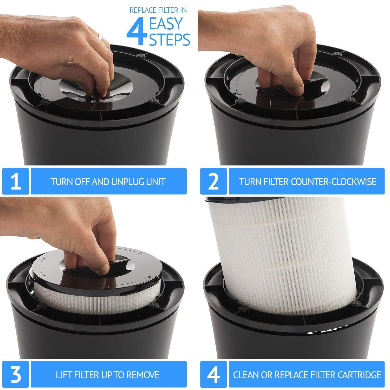 Best Air Purifier for Mold Spores and Mildew - #3 SilverOnyx Air Purifier - Filter Replacement Process