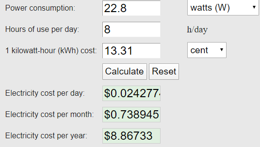 The Cost of Running a Boneco W200 annually for 8 hours a day. Even on its highest setting, the W200 will cost you less than $10 annually to run for 8 hours a day.